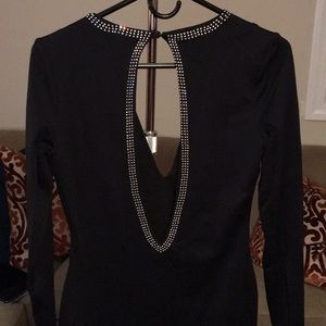 bebe Dresses - Bebe Rhinestone embellished Long Sleeve Dress NWOT